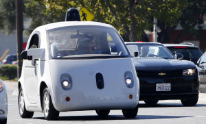 A Google self-driving car travels eastbound on San Antonio Road Wednesday afternoon, Oct. 22, 2015 in Mountain View, Calif. (Karl Mondon/Bay Area News Group)