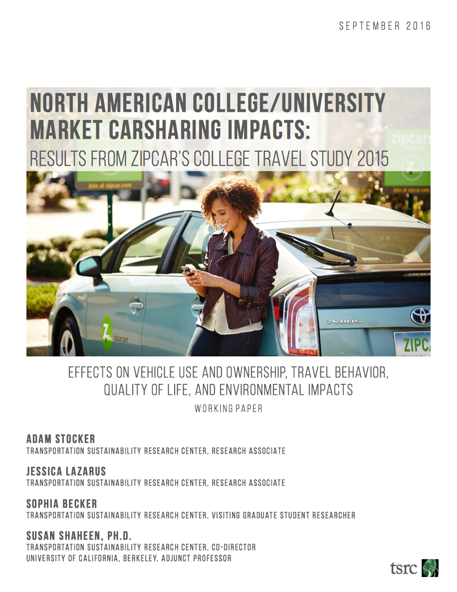 cover page for Zipcar college travel study
