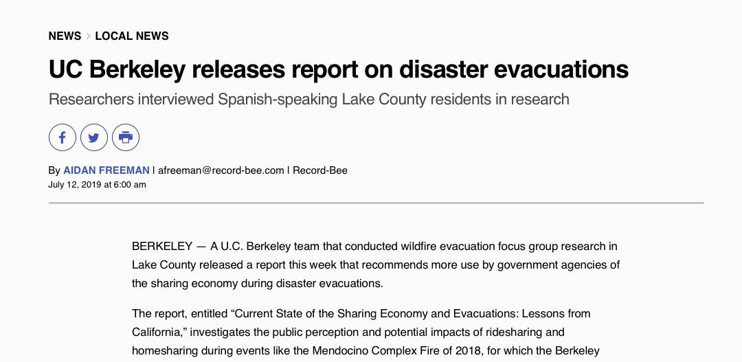 UC Berkeley releases report on disaster evacuations